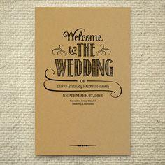 DIY Kraft Paper Wedding Program / Order of Service - Handlettered Rustic Love - Printable PDF Template - Instant Download