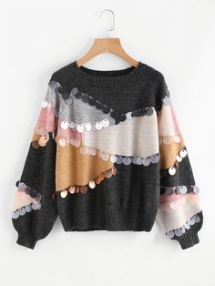 Shop Sequin Decoration Contrast Sweater online. SheIn offers Sequin Decoration Contrast Sweater & more to fit your fashionable needs.