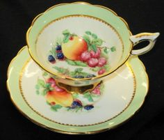 ROYAL STAFFORD ENGLAND SIGNED FRUIT GREEN GOLD WIDE FOOTED TEA CUP AND SAUCER