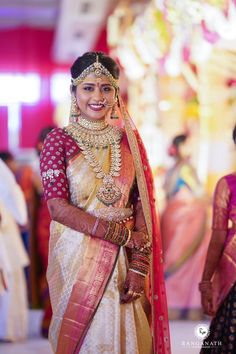 Beautiful bride in golden saree and maroon maggam embroidered blouse. Polki jewellery by Hiya jewellers. Royal Indian Wedding, South Indian Bride, Cut Work Blouse, Couple Wedding Dress, Golden Saree, Present For Groom, Blouse Models, Saree Styles, Saree Blouse Designs