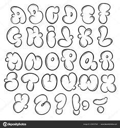 Graffiti Alphabet Styles, Graffiti Lettering Alphabet, Graffiti Words, Graffiti Designs, Graffiti Drawing, Hand Lettering Fonts, Doodle Lettering, Lettering Styles, Doodle Fonts