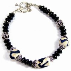 Sterling Silver Bracelet Lampwork Glass Bead Etched Kronos Ivory Black | Covergirlbeads - Jewelry on ArtFire