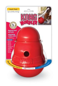 The KONG Wobbler is a KONG-shaped food dispensing toy and feeder that provides a new way to entertain and challenge your dog. The Wobbler sits upright until pushed with a dog's paw or nose, then wobbles, spins and rolls, dispensing treats through a KONG-s Best Dog Toys, Best Dogs, Toy Puppies, Dogs And Puppies, Kong Company, Kong Dog Toys, Pet Toys, Interactive Dog Toys, Toys