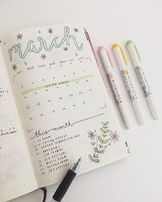15 Super Pretty Monthlies ...  Inspiration for your bullet journal or candy for your eye, it's all good. Like this soft calendar with spring flowers.