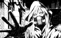 black and white Vocaloid gas masks drawings anime wallpaper background