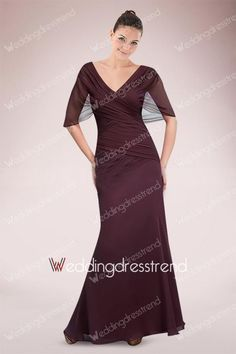 Modest Ruched Draped V-neck Floor-length Mother of the Bride Dress