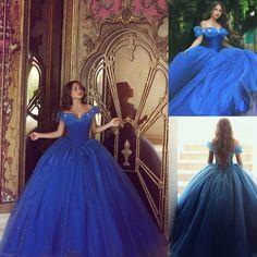 Royal Blue Quinceanera Dress, Cinderella Prom Gowns, Graduation Dresses, Cap Sleeve Prom Dresses Custom