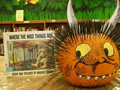 book character pumpkin decorating -Where the Wild Things Are Theme Halloween, Holidays Halloween, Halloween Pumpkins, Halloween Crafts, Happy Halloween, Halloween Books, Halloween Kids, Halloween Costumes, Pumpkin Decorating Contest