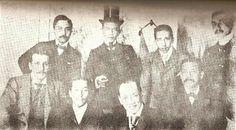 Filipino diplomats and leaders in Paris, 1898. SEATED, from left: F. de Almores, Felipe Agoncillo, Pedro Roxas, and Antonino Vergel de Dios. STANDING, from left: B. Villanueva, Antonio Roxas, E. Brias, and P.A. Roxas.