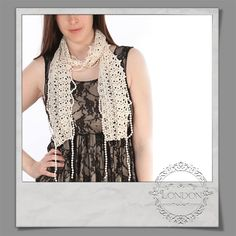 #Crochet #Scarf With #Pearl #Details