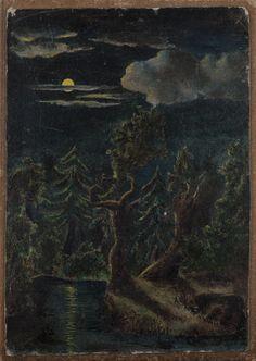 Akseli Gallen-Kallela: Kuutamomaisema, ensimmäinen öljymaalaus, 1881, öljymaalaus, Gallen-Kallelan Museo. Kuva: GKM / Jukka Paavola