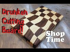 """Drunken Cutting Boards: This is my first cutting board. An interesting pattern emerges from the flowing """"S"""" shape and works really well with the high contrast of maple and walnut. End Grain Cutting Board, Diy Cutting Board, Custom Cutting Boards, Personalized Cutting Board, Bandsaw Projects, Wood Projects, Tapas, Wooden Cradle, Wood Turning"""