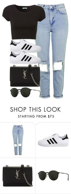 """Sin título #12870"" by vany-alvarado ❤ liked on Polyvore featuring Topshop, adidas Originals, Yves Saint Laurent and Ray-Ban"