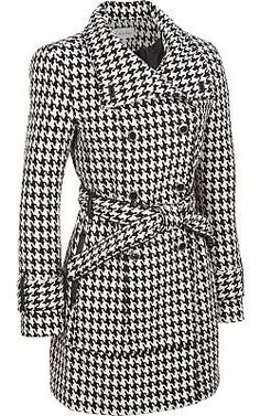 Calvin Klein Wool Houndstooth 3/4 Trench - Wilsons Leather