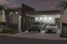 Ground floor with integrated environments – modern facades – rnrnSource by fachadasces Garage Pergola, Parking Design, House Elevation, Garage Design, Paint Colors For Home, Facade Architecture, Modern Exterior, Sliding Glass Door, House Front