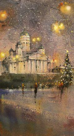 JOULUN ODOTUS Watercolor Paintings, Watercolours, Beautiful, Watercolor Painting, Cities, Water Colors, Watercolour Paintings
