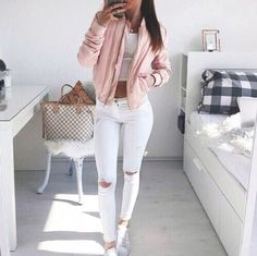 Pretty white jeans with pale pink bomber jacket ♡
