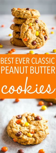 These Best Ever Peanut Butter Cookies are the perfect classic cookie recipe! Crispy on the outside, tender on the inside, and packed with nutty flavour and Reese's Pieces for an added crunch! Recipe from thebusybaker.ca! #cookies #snack #baking #easy #recipe #reeses #peanutbutter #cookie #baked #baker #foodblog