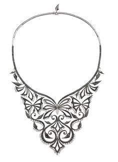 Stephen Webster Couture Diamond Russia Collar in Black Diamonds with White Diamond Accents.