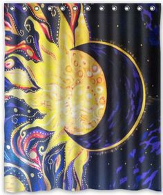 Popular Design Sun And Moon Shower Curtain X Liners