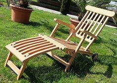 Hochwertiger TEAK STEAMER DECKCHAIR Liegestuhl Sonnenliege Klappsessel Holz  Geölt Mit Rädern, Modell: LUNA Von