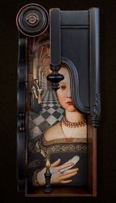 Mixed Media assemblage and collage art by Chicago artist Kass Copeland. Handmade boxes created from discarded, recycled furniture inspired by Joseph Cornell. Found Object Art, Found Art, Recycled Furniture, Recycled Art, Wood Furniture, Repurposed, Arte Assemblage, Collage Art, Collages