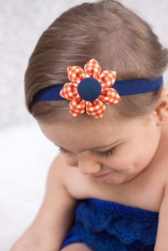 Orange & Navy Blue Gingham Kanzashi Fabric Flower-Available in 4 Styles