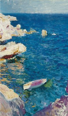 my-water-lilies: Rocks of Javea (detail), Joaquín Sorolla. Spanish Painters, Spanish Artists, France Art, Cat Art Print, Seascape Paintings, Art For Art Sake, Water Lilies, Beautiful Paintings, Abstract Landscape