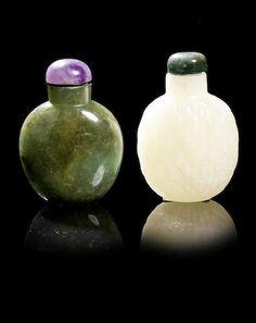 A pale green jade 'basket-weave' snuff bottle 19th century