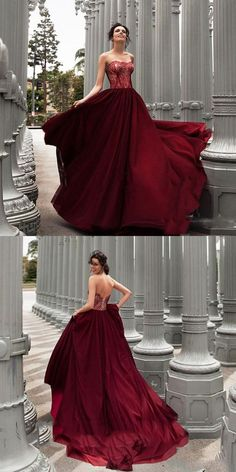 Glamorous A-Line Strapless Burgundy Long Prom/Evening Dress With Lace P0985 #promdress #longpromdress #2018promdresses #fashionpromdresses #charmingpromdresses #2018newstyles #fashions #styles #hiprom #prom #GraduationDress #2018 #tulle #PartyDress #red #burgundy
