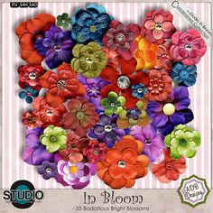 In Bloom is Retiring.  Priced from $.75 to $1.25 Beautiful pastels and vibrant darks.  #ADBDesigns #theStudio #digitalscrapbooking