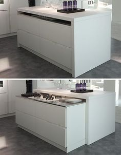 hidden kitchen island system - how abt an island that slides out for chopping, and tucks away for bigger, more spacious kitchen? #kitchenstore