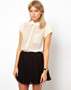 ASOS Blouse with Contrast Collar in Dobby Spot