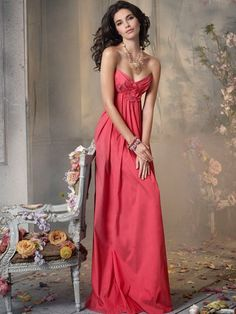 Cheap Bridal Shop Long coral sweetheart taffeta with some floral under bust empire waist bridesmaid dress