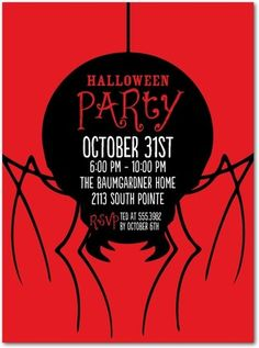 Wicked Widow - Halloween Party Invitations in Tomato | Baumbirdy