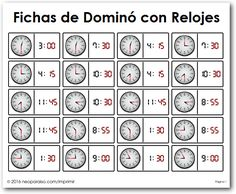 Dominó de Relojes Bingo, Teaching Clock, Activities For Teens, Math For Kids, Telling Time, Educational Games, Coloring Pages, Homeschool, Learning