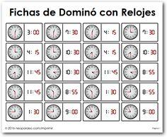Dominó de Relojes Bingo, Teaching Clock, Activities For Teens, Educational Games, Art For Kids, Math, Learning, Homeschooling, Hello Kitty