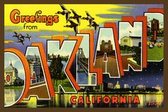 Oakland California Large Letter   - 1930 Postcard. Quilt Block printed on cotton. Ready to sew. Single 4x6 block $4.95.