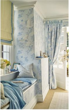 Find sophisticated detail in every Laura Ashley collection - home furnishings, children's room decor, and women, girls & men's fashion. Laura Ashley Home, Laura Ashley Bedroom, Laura Ashley Curtains, Room Diffuser, Creation Deco, Home And Deco, White Houses, Cottage Homes, Home Furnishings