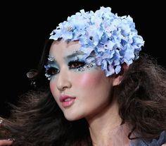 Hydrangea headpiece during China Fashion Week Fall 2013