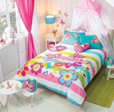 New Girls White Pink Aqua Love Flowers Butterflies Comforter Bedding Sheet Set | Home & Garden, Kids & Teens at Home, Bedding | eBay!