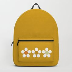 Spring Daisies on Yellow Backpack by denidesigns Yellow Backpack, Backpacks For Sale, D Craft, One Size Fits All, Fashion Backpack, Laptop, Unisex, Pocket, Tote Bag