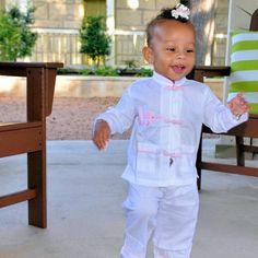 Cotton Asian Style Pajamas - White with Pink Elephant