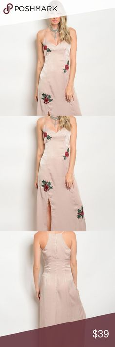 Mystic Los Angeles Spaghetti Strap Dress-Blush Mystic Los Angeles Strap Slit Dress Blush With Rose Embroidery-NWOT. Condition is New without tags. Mystic Los Angeles Dresses