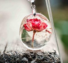 "Bohemian mood botanical pendant real rose charm necklace by ""Pagane uniques"" original design jewelry"