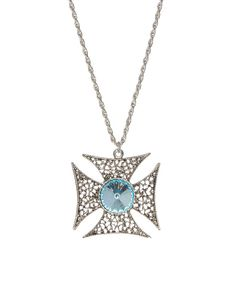 Look at this Turquoise & Silver Esmee Cross Pendant Necklace on #zulily today!