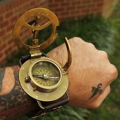 Old school watch.        Beautiful steampunk time piece - using only the sun!      Sundial, latitude finder, and compass.      Made of antiqued brass on a real leather band.      Read more...    $44.99