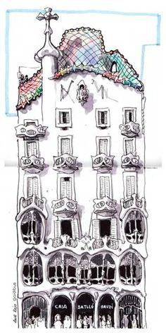 Casa Batlló | Obra del arquitecto Antoni Gaudí. Se trata de … | Flickr Casa Gaudi, Antoni Gaudi, Tatuagem Art Nouveau, Building Sketch, Watercolor Architecture, Urban Sketching, Art For Art Sake, New Art, Watercolor Paintings