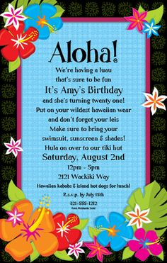Tiki luau birthday party invitation wording httpwww break out the hula skirts and hawwaiian style this invitation is perfect for your next luau party this is designed with a bold black background border but stopboris Choice Image