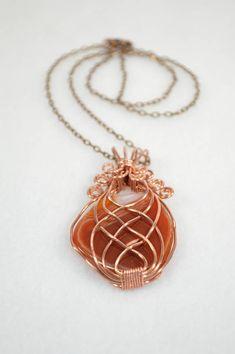 Carnelian Necklace . Carnelian Copper Necklace . Valentines